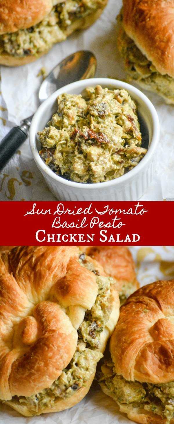 These Sun Dried Tomato Basil Pesto Chicken Salad Sandwiches are quick & easy to whip up, making lunch time a breeze. It's good, old fashioned comfort food with Italian flair served up on a buttery, flaky croissant roll.