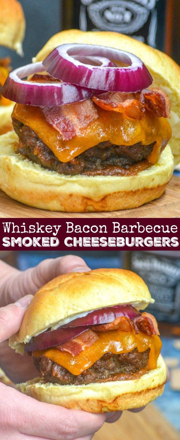 Whiskey infused, tender, smoked burgers are topped with thick slices of cheddar cheese, bright red onion rings, and basted liberally in an easy sweet & savory whiskey-based barbecue sauce. Sandwiched between pillow-y buns- these Pineapple Barbecue Sauce Infused Smoked Whiskey Bacon Cheeseburgers are the burgers  to beat all other burgers.