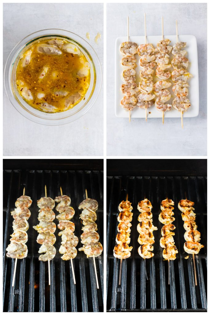 a four image collage showing the different steps in marinating and grilling nam prik shrimp skewers