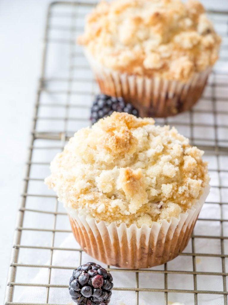 Breakfast muffins with blackberries