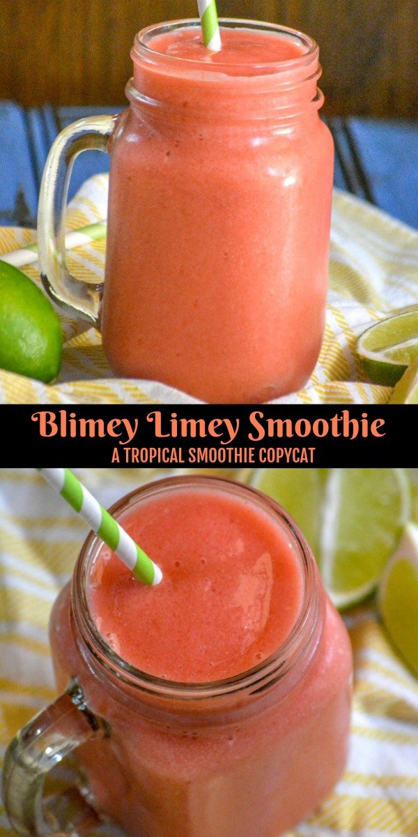 Are you craving a refreshing Summer time treat? This Copy Cat Tropical Smoothie Blimey Limey smoothie is just the thing. A wonderful combination of strawberry, pineapple, orange, and lime- this is a refreshing beverage sure to quench any thirst.