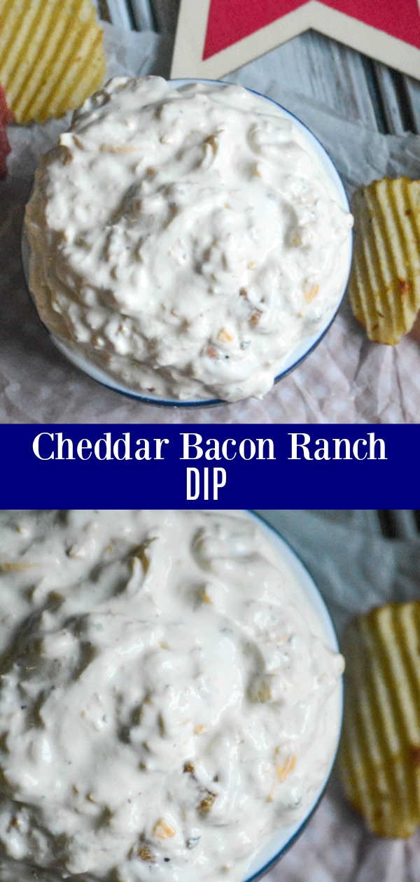 Every party and barbecue has one thing in common, a good dip as the star of the show. This Cheddar Bacon Ranch Dip is destined to be the hit of your next get-together. A creamy, ranch seasoned base is laced with tangy sharp cheddar and crisp, savory bits of bacon.
