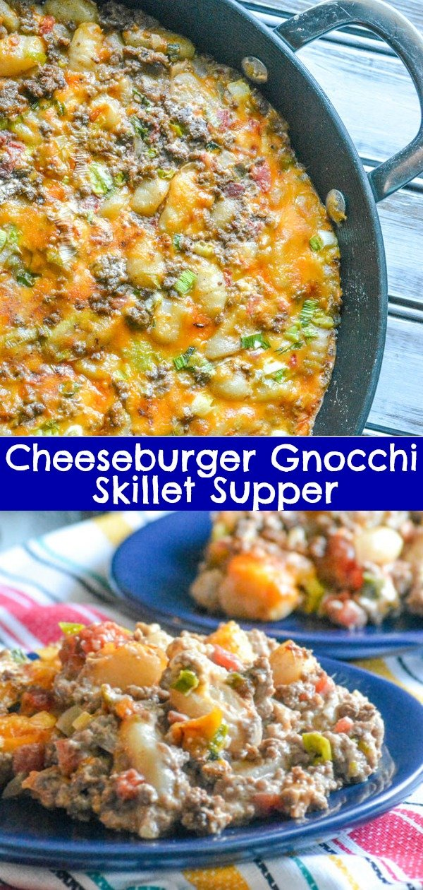Quick and easy dinner are something we're always on the look out for. Look no further than this yummy Cheeseburger Gnocchi Skillet Dinner, comfort food that's a creamy, dumpling filled spin on an old fav. #cheeseburger #gnocchi #onepot #dinner #quickandeasy #comfortfood