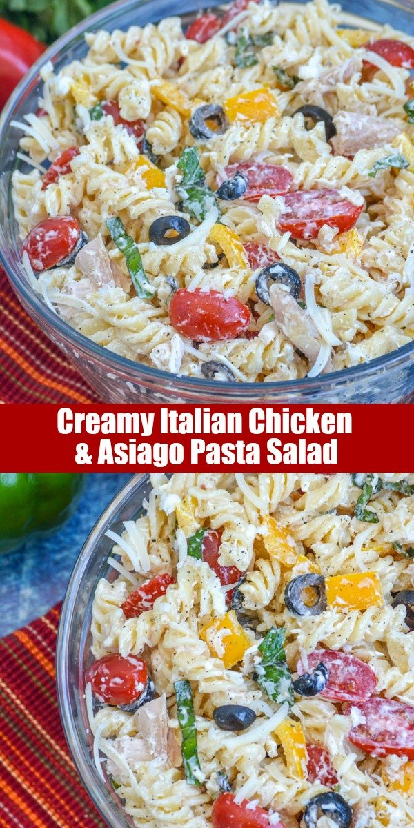 This Creamy Italian Chicken & Asiago Pasta Salad makes a perfect Summer meal all in one bowl. Whether served for lunch or dinner, it's full of meat, pasta, and plenty of yummy fresh veggies tossed in a creamy Italian dressing.
