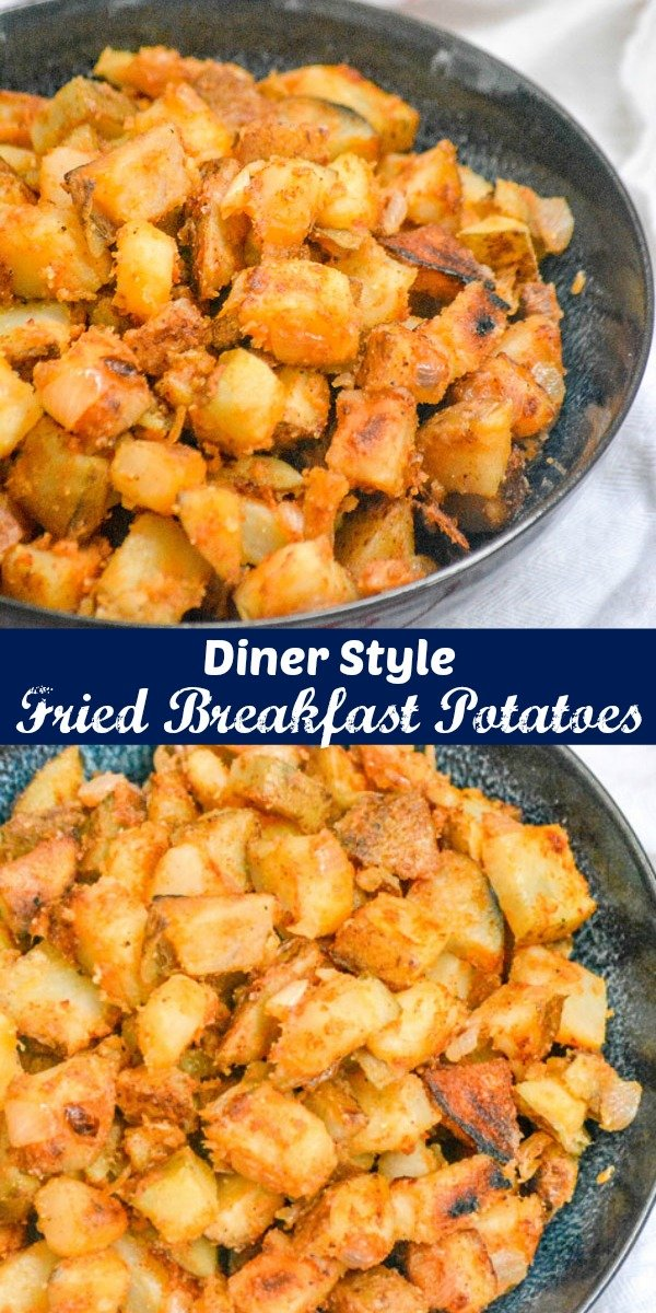 Sometimes the simplest dishes are the best, and nothing is more true than early in the morning. These Diner Style Home Fried Breakfast Potatoes are a quick & easy side to fry up, and pair perfectly with just about any of your favorite breakfast entrees. #breakfast #brunch #fried #potatoes #dinerstyle #quickandeasy #sidedish