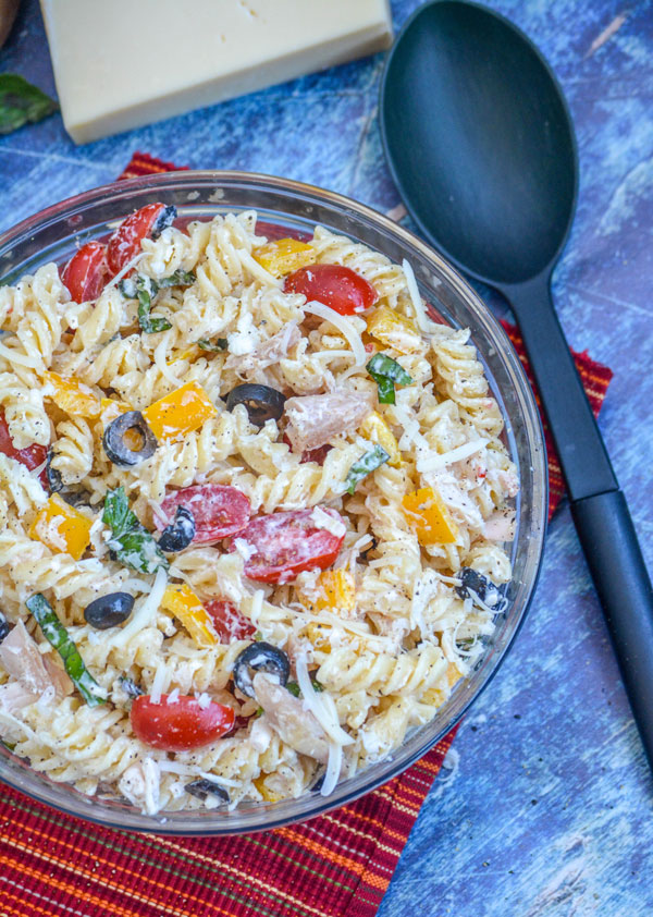 Creamy Italian Chicken & Asiago Pasta Salad