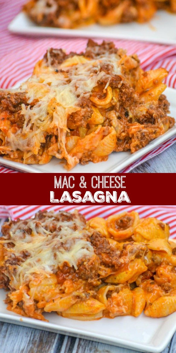 A meal the whole family will love, this Mac & Cheese Lasagna appeals to the kids- and the kid still in all of us. Creamy layers of shells & cheese are interspersed with a savory mixture of ground beef, sauteed onions, minced garlic, and a blend of Italian cheeses.