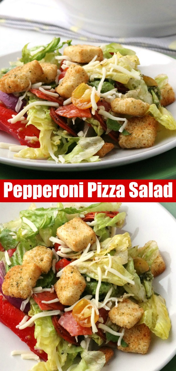 A fresh, bright, healthier dinner option- this Pepperoni Pizza Salad is a filling Summer meal the whole family will fall for. Full of pepperoni, mozzarella cheese, tomatoes, sweet peppers, and onion it's tossed in an Italian style salad dressing. Less calories, less carbs, but the same flavor profile you love & crave. #pepperoni #pizza #salad #dinner #healthy
