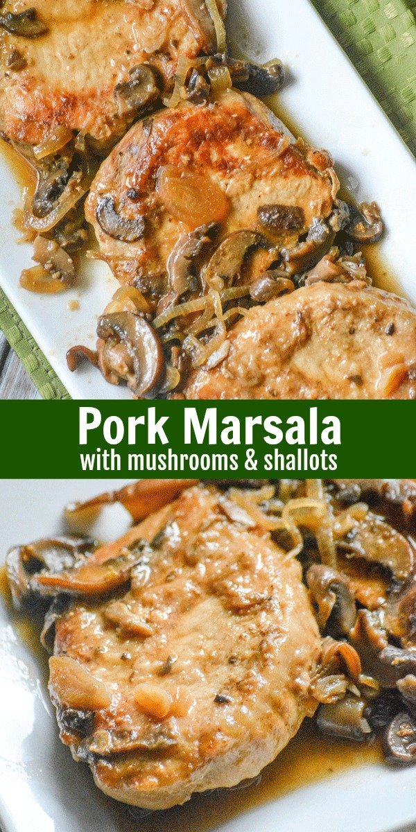 Chicken isn't the only thing that pairs beautifully with a savory Marsala wine sauce. In this rendition, pork chops are the star of the show. This dish may sound fancy, but Pork Marsala with Mushrooms & Shallots is easy enough for any cook, and a sure-fire gourmet meal. #pork #porkchops #marsala #mushrooms