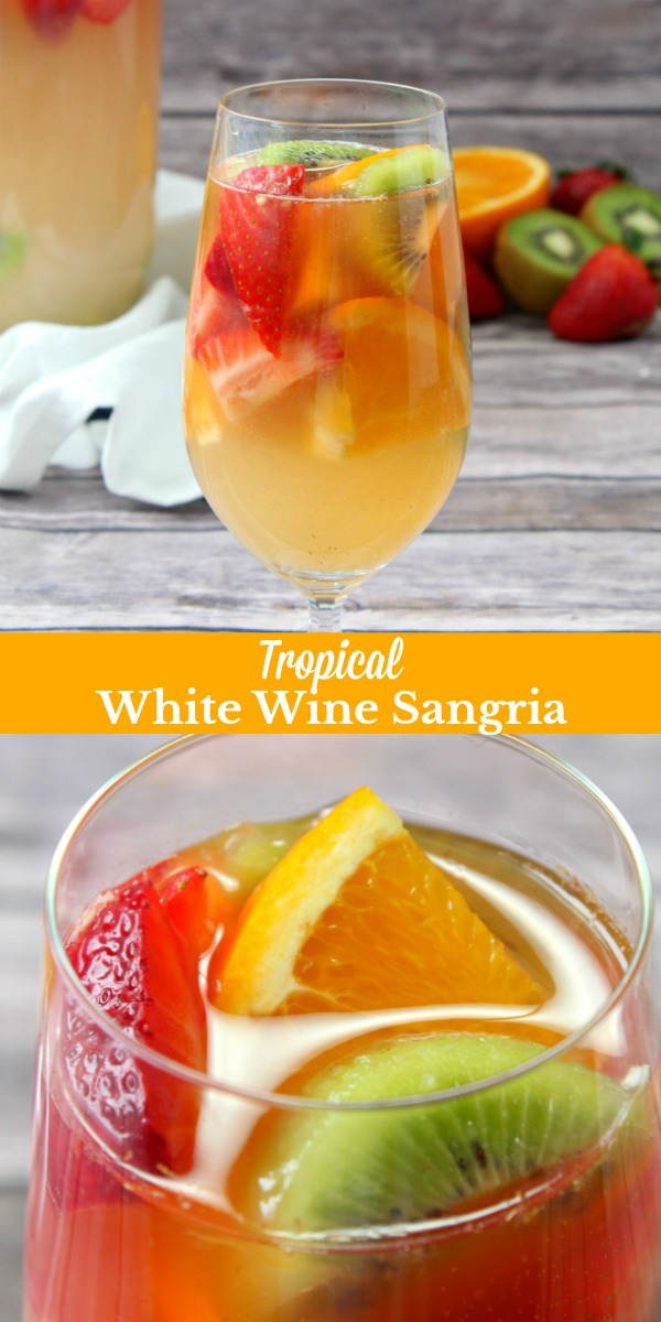 A dreamy Southern cocktail, this Tropical White Wine Sangria is a bit of Summer in every single sip. A cool mix of white wine, rum, pineapple and orange juice, & freshly sliced fruit- this drink is the adult beverage you've long been looking for. #drinks #sangria #beverage #wine #alcohol