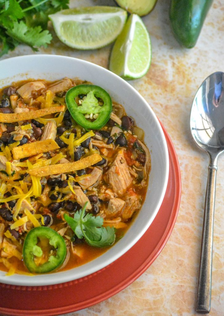 Healthy Chicken & Black Bean Tex Mex Soup