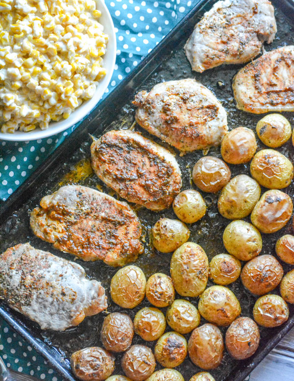 Ranch Pork Chop & Potato Sheet Pan Supper