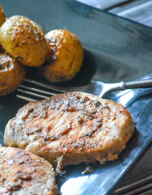 Ranch Pork Chop & Potato Sheet Pan Supper