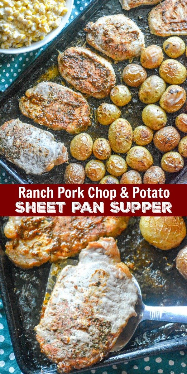 A complete meal baked on a single pan, this dinner takes the traditional 'meat & potatoes' pairing to a whole new level. This Ranch Pork Chop & Potato Sheet Pan Supper is seasoned to perfection with a delicious blend of your favorite Ranch flavors mixed with a little smoky spice.