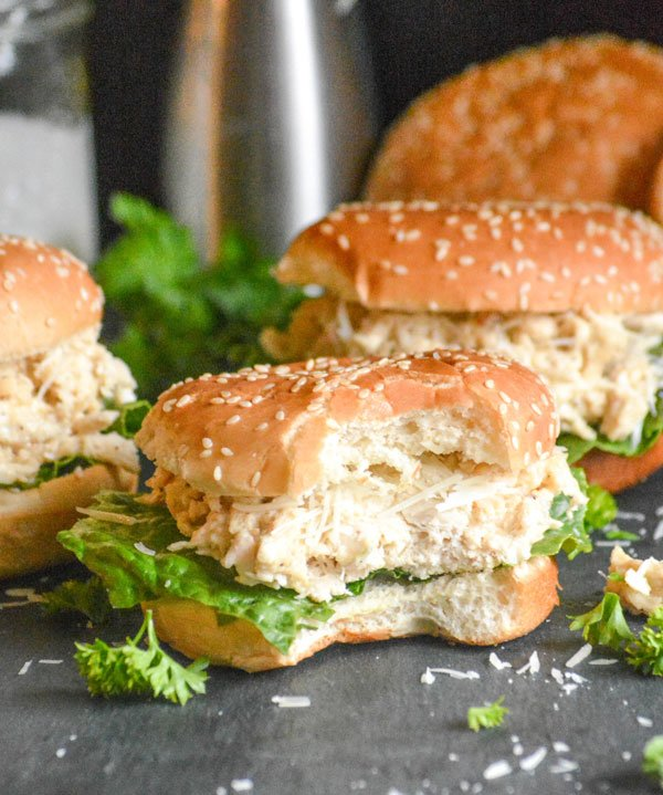 Slow Cooker Hot Chicken Caesar Sandwiches