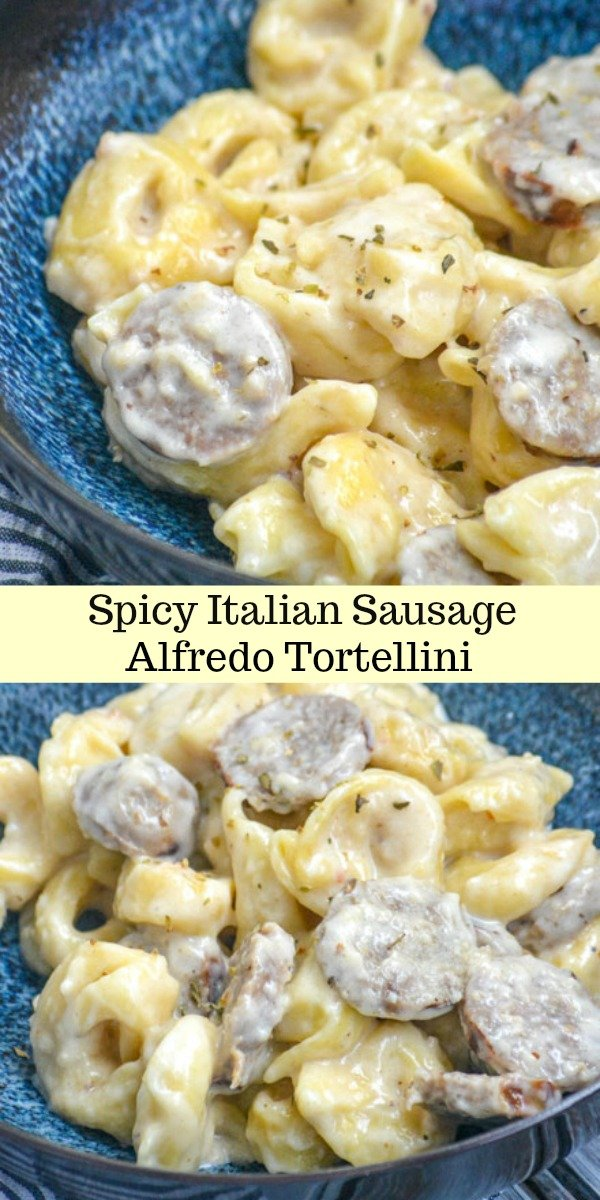 Sometimes it's hard to find something everyone will love when it's crunch time before dinner time rolls around. This 20 minute Spicy Italian Sausage Alfredo Tortellini is a simple pasta dinner in a homemade, zesty garlic flavored cream sauce. It dots all the I's & crosses all the T's for the entire family.