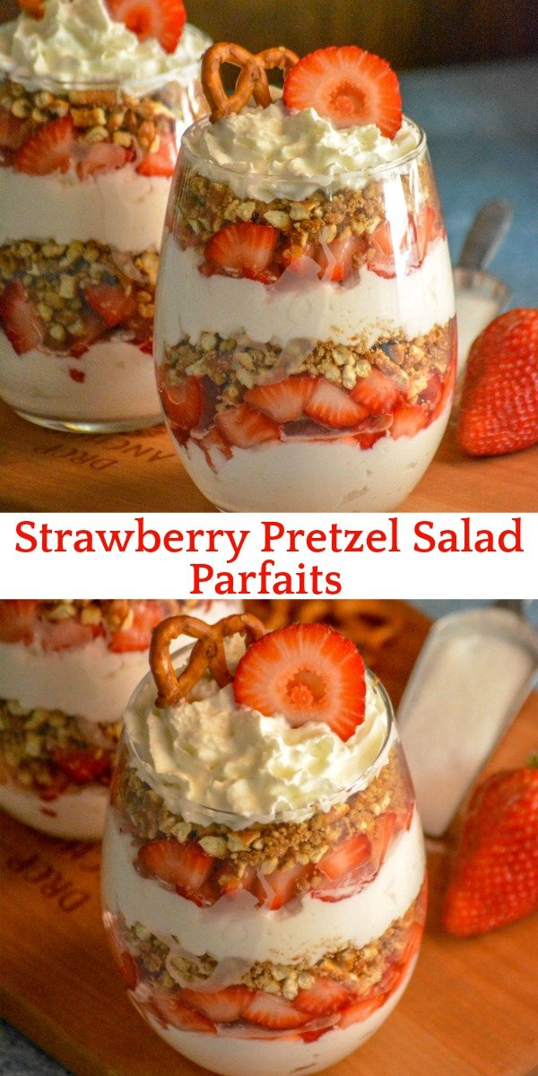 A studding dessert, these Strawberry Pretzel Salad Parfaits put a creamy new spin on the classic strawberry pretzel salad. Featuring layers of flavor infused freshly whipped cream, buttery cinnamon pretzels, and ripe berries- it's a dessert destined to impress.