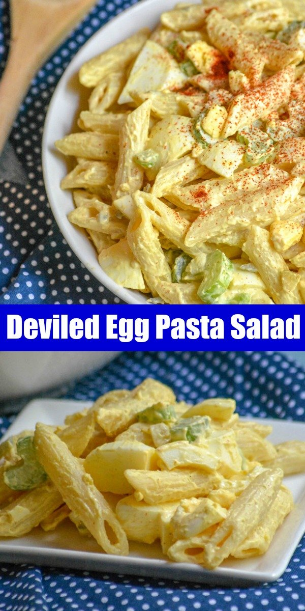 Everyone's favorite hard boiled egg appetizer meets creamy pasta salad in this fun combo of Deviled Egg Pasta Salad. It's the best dish, bound for your next barbecue- and it's epic.