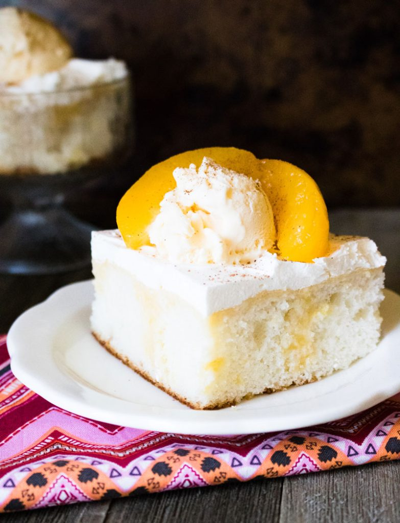 Peaches & Sweet Cream Poke Cake