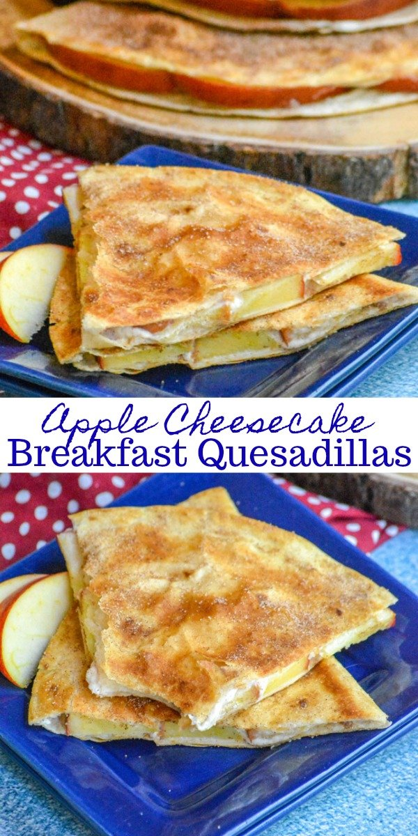 Do you love quesadillas? We do too, and we've finally found the perfect way to fix them for breakfast, even  dessert, with these totally addictive Apple Cheesecake Breakfast Quesadillas. It's like your favorite crisp breakfast met your best cheesecake dessert, with apples and smidge of cinnamon & sugar thrown in.