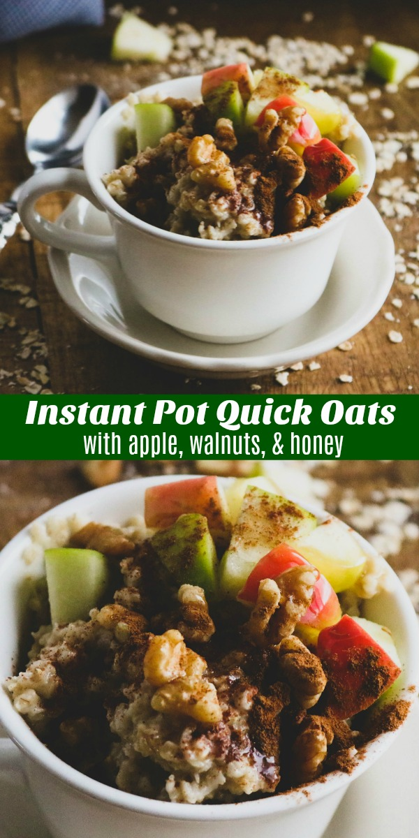 Looking for something more filling than a cold bowl of cereal, or heartier than frozen pastries for busy breakfasts? These Instant Pot Quick Oats with Apples, Walnuts, & Honey are a healthy, easily customizable way to start the day and make everyone happy, and in 5 minutes no less.