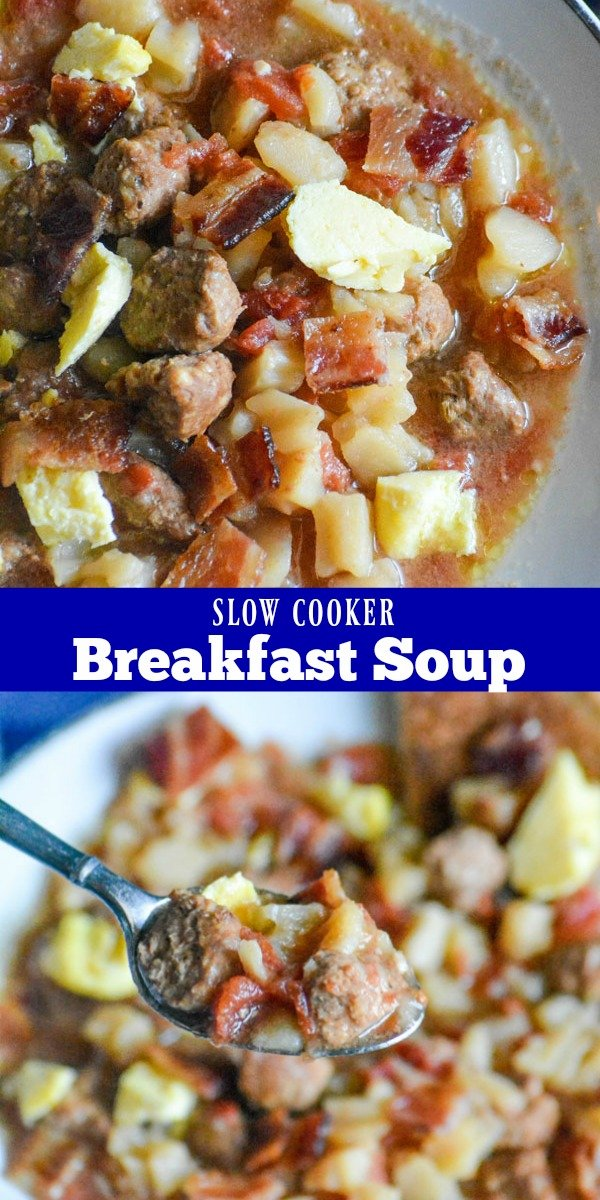 Looking for a way to get all of your breakfast favorites in one easy meal? One that doesn't require any work on your part in the morning? This Slow Cooker Breakfast Soup is a savory, slightly sweet soup studded with breakfast sausage, potatoes, and tomatoes- and topped with fluffy scrambled eggs & crisp, crumbled bacon. It's sure to make any morning a good one!