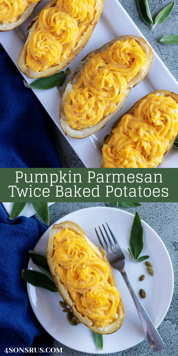 Want to infuse your meal time with all things Fall? On top of the traditional sides, you'll want to include these Pumpkin Parmesan Twice Baked Potatoes on your menu. Crisp, russet potato shells are filled with a savor mixture of whipped potatoes, smooth pumpkin, warm sage, and tangy Parmesan cheese. It's a seasonal spin on the classic baked potato that doesn't disappoint.