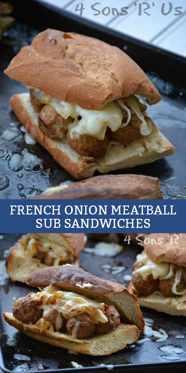 Got a bunch of meatballs in the freezer? Give them, and your lunch, new life with these easy French Onion Meatball Sub Sandwiches.
