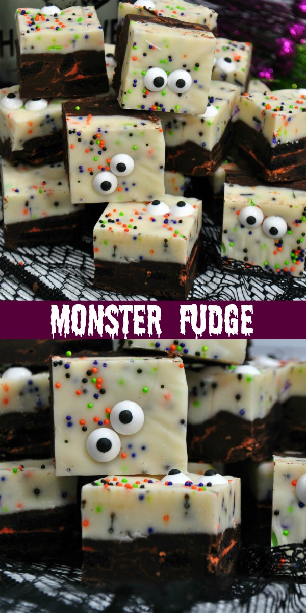 Halloween will be here before you know it. Get your little ghouls & goblins in the spirit of things with a big batch of this quick & easy Monster Fudge. It's an adorably spooky dessert that will have all the monsters (old & young) crowding around the treat table.