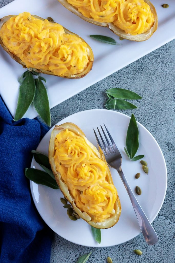Pumpkin Parmesan Twice Baked Potatoes