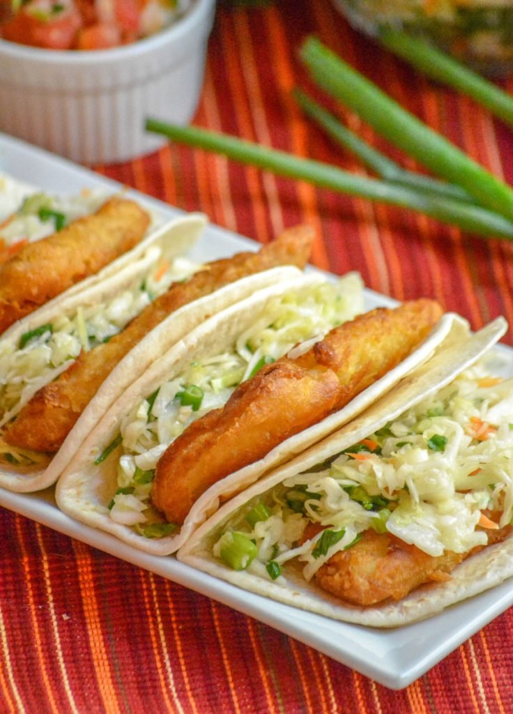Beer-Battered Fish Tacos with Cilantro Slaw