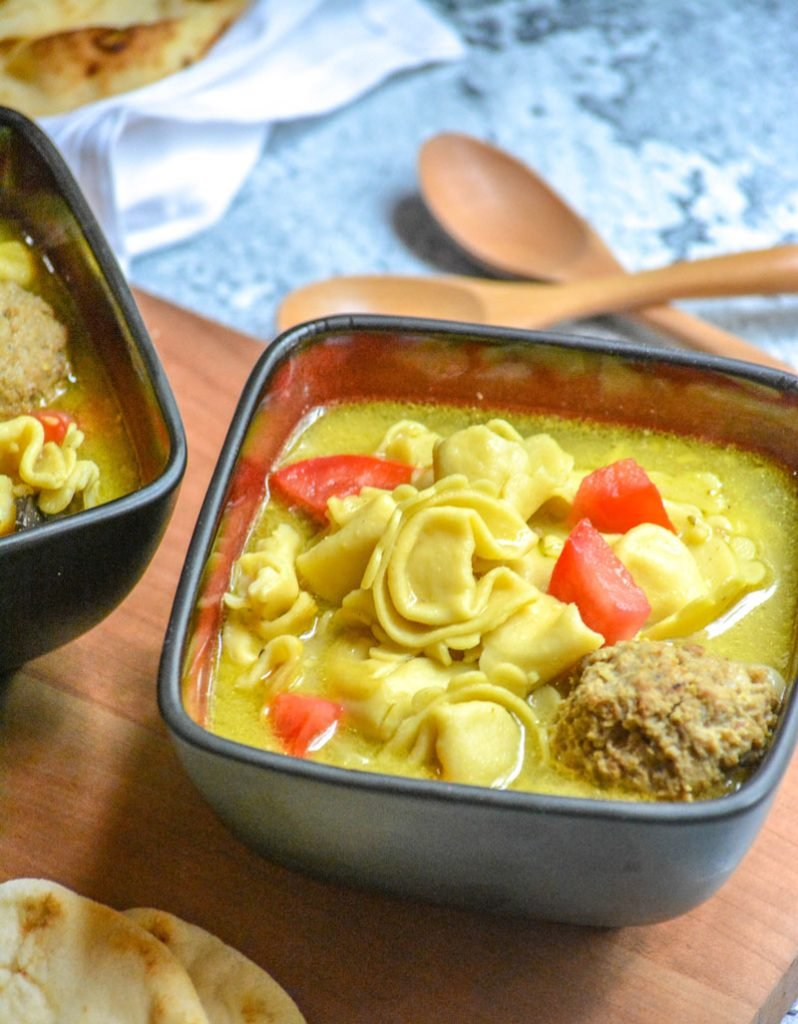 Curried Tortellini Meatball Soup