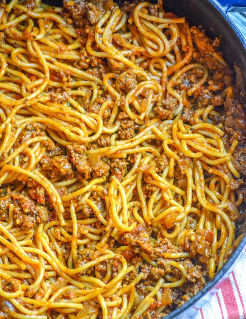 One Pot Spaghetti in a large blue pot
