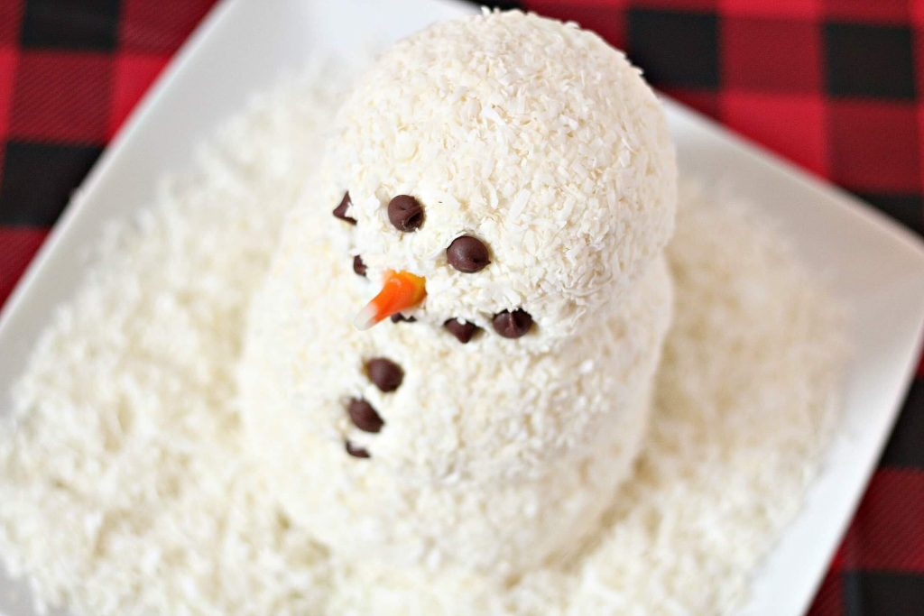 snowman themed dessert cheese ball