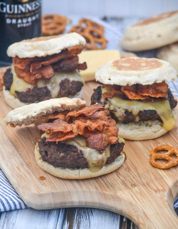 Guinness Bacon Irish Cheddar Cheeseburgers