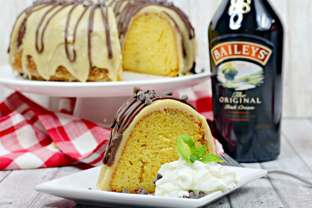 Irish Cream bundt cake with Baileys glaze and chocolate ganache