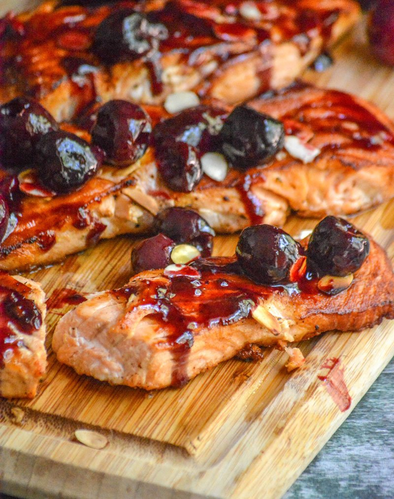 Pan Seared Salmon with Fresh Cherry Almond Sauce