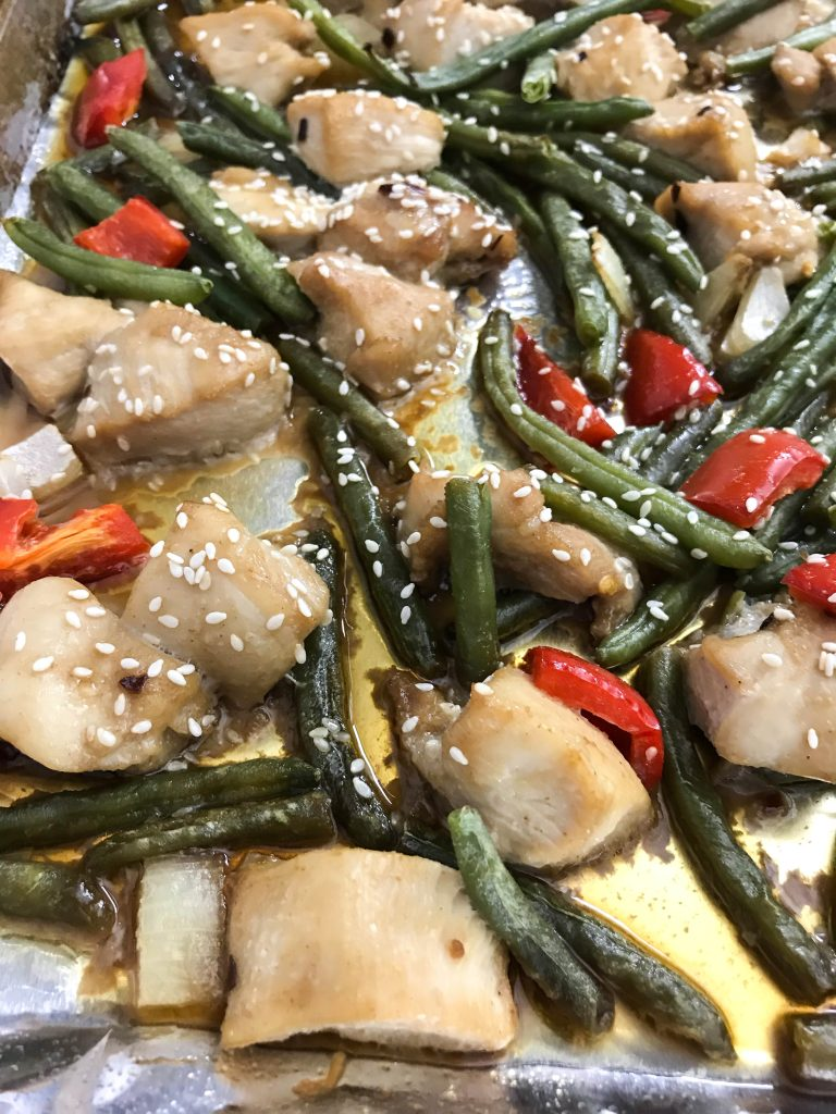 Chinese Chicken & Green Bean Sheet Pan Supper