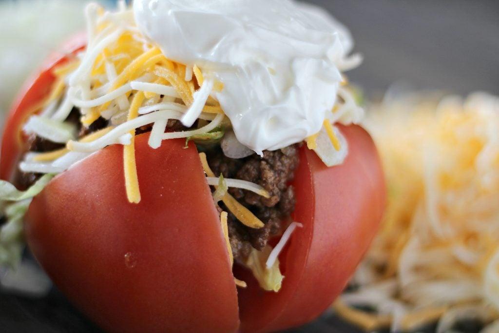 healthy taco stuffed tomatoes