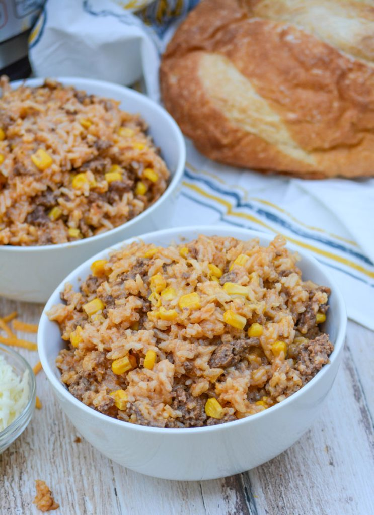 Instant Pot Cheesy Ground Beef & Rice