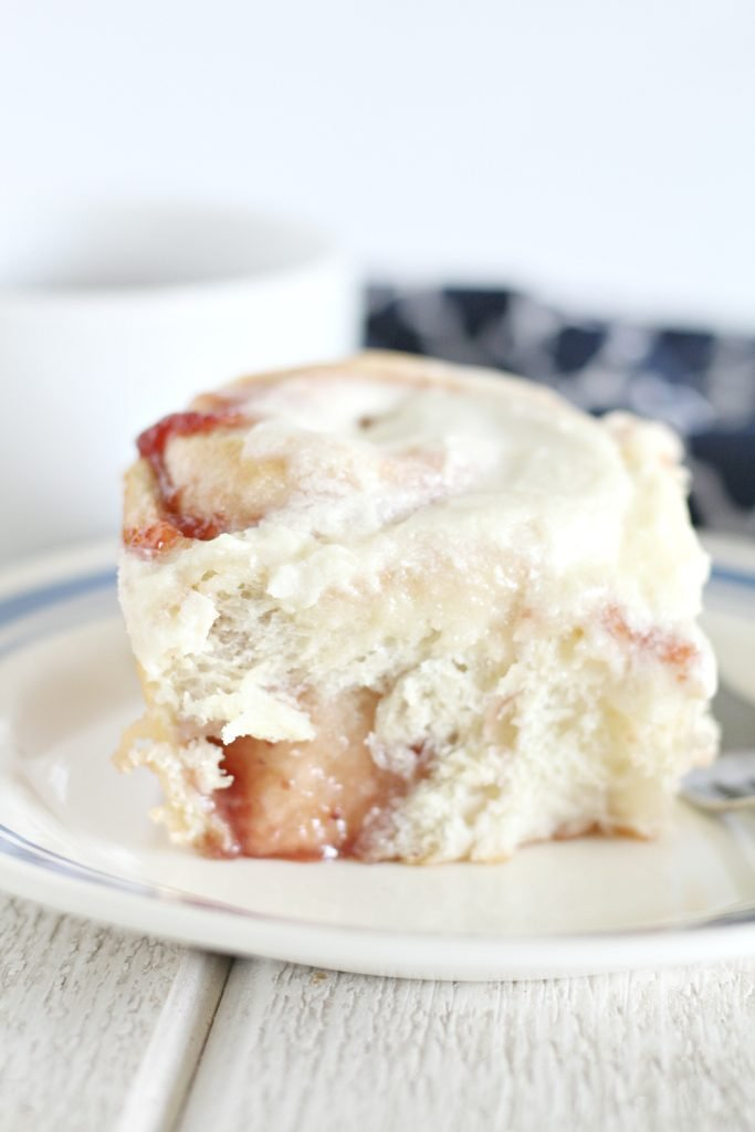 Strawberry Rolls with Powdered Sugar Icing