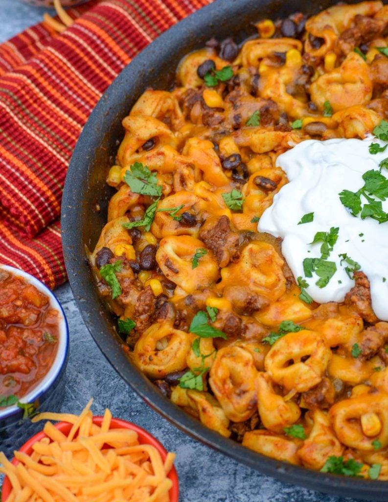 Cheesy Ground Beef Enchilada Tortellini