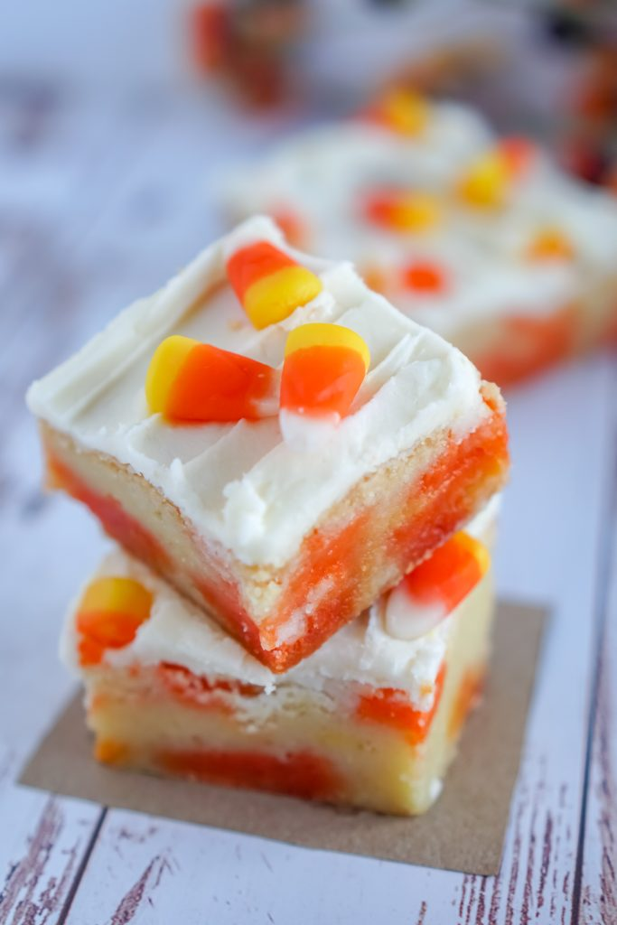 Candy Corn Cookie Bars #HalloweenTreatsWeek