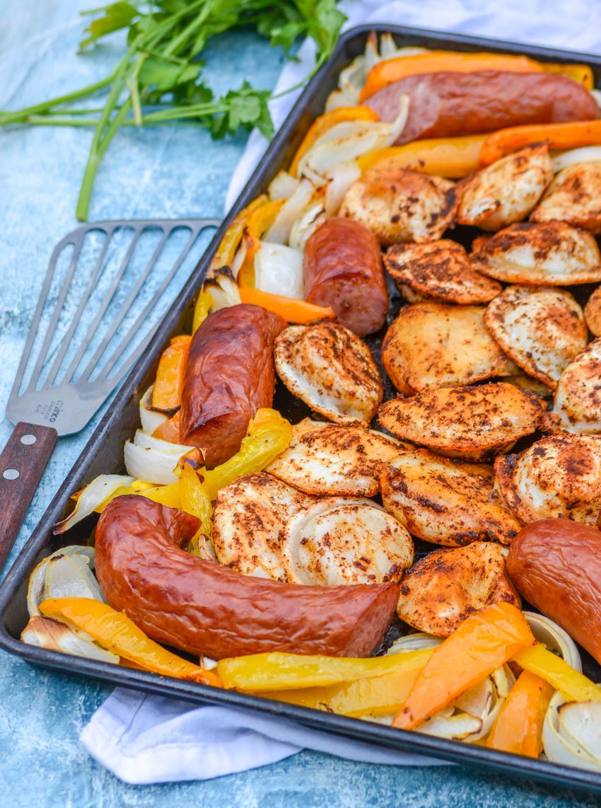 Smoked Sausage, Potatoes, and Veggies Sheet Pan Dinner