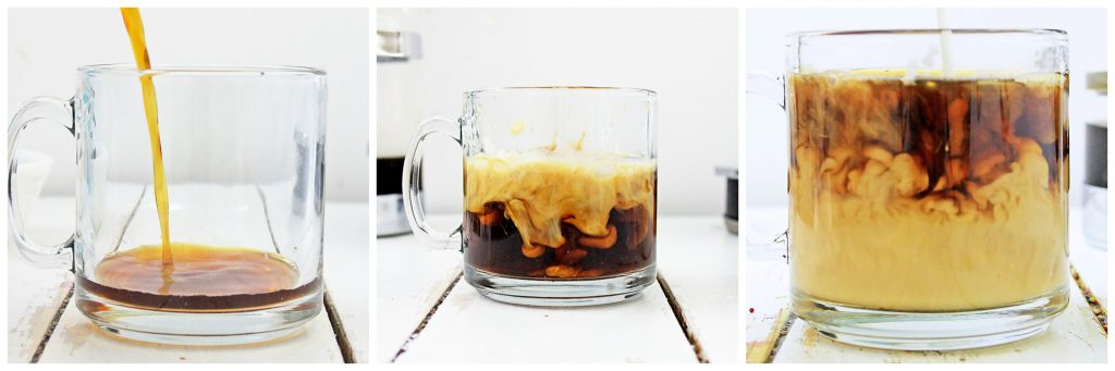 A succession of three pictures showing the coffee being poured, the cream added, and the two swirling in the full mug