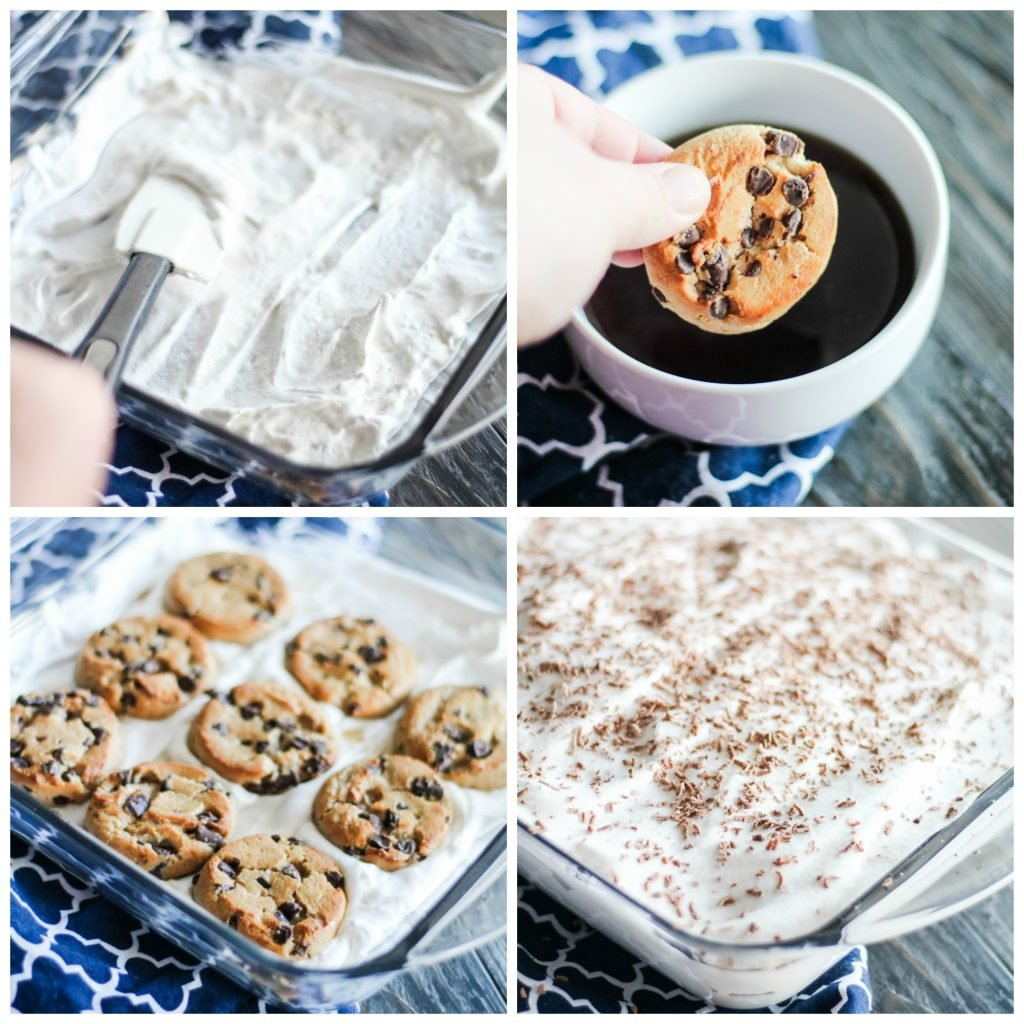 Chocolate Chip Tiramisu In Process Image Collage containing four different images