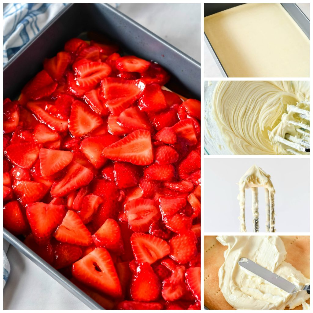 in process images of the steps to assemble this strawberry slab pie