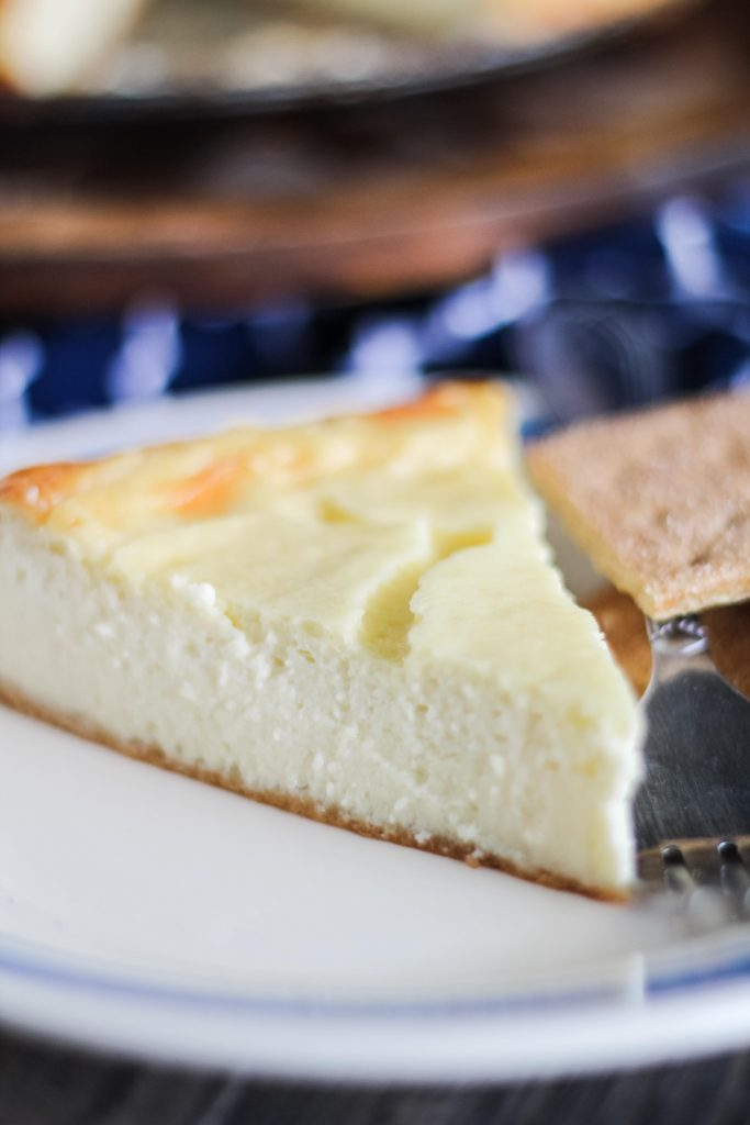 a slice of new york style cheesecake on a blue rimmed white plate