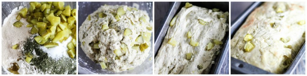 in process images of making dill pickle bread in a collage