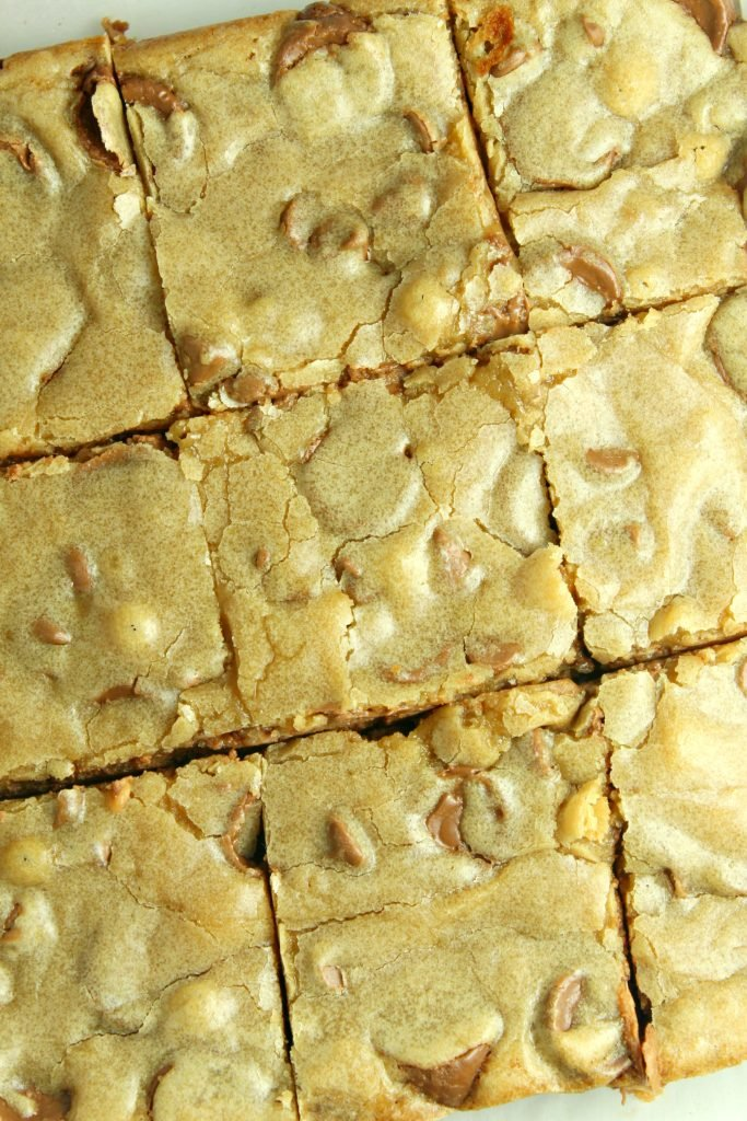 chocolate chip blondies with rolo candies shown cut into nine even bars for serving